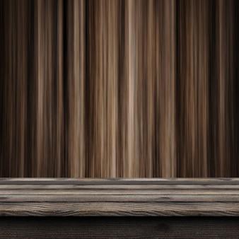 Rustikaler holztisch 3d, der heraus zu einer defocussed hölzernen wand schaut