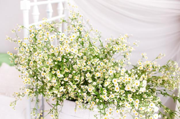 Rustikaler und umweltfreundlicher stil. skandinavien. strauß gänseblümchen in einem landhaus. gänseblümchen in einer vase auf einem weißen. aromatherapie, sommerwildblumen. das konzept des komforts. morgen in einem landhaus.