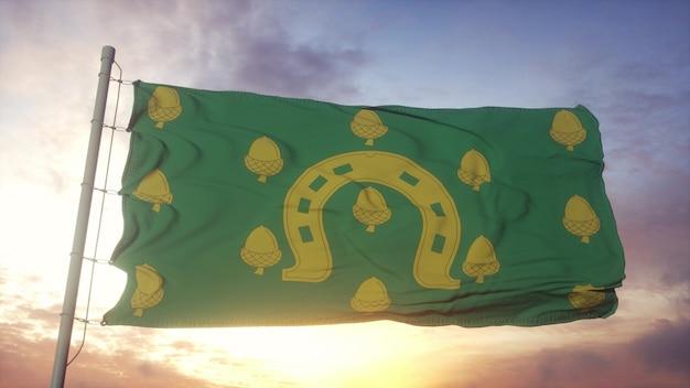 Rutland-flagge, england, weht im wind-, himmels- und sonnenhintergrund. 3d-rendering.