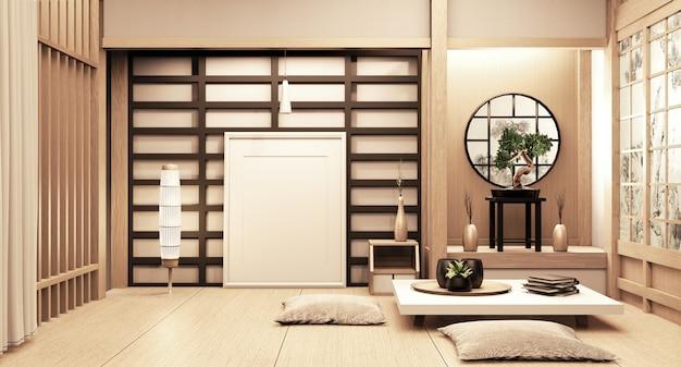 Ryokan im japanischen stil auf zimmer aus holz sehr schönes design. 3d-rendering