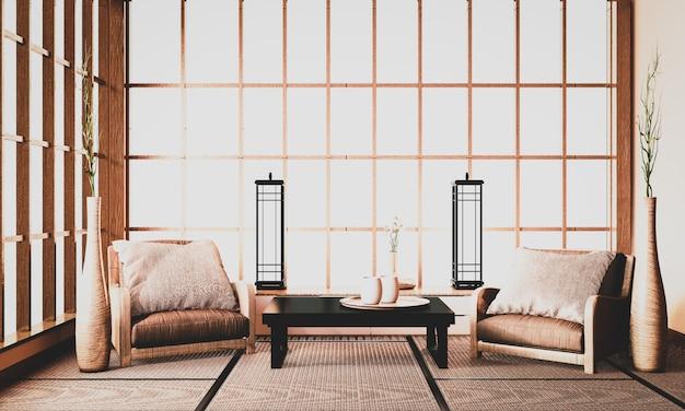 Ryokan-interieur, die vorderseite des zimmers ist im traditionellen japanischen stil gehalten und schwer zu finden. 3d-rendering