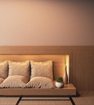 Ryokan-rauminnenraum mit dem sofa hölzern auf verstecktem hellem wanddesign wiedergabe 3d