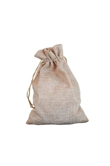 Sack oder leinensack lokalisiert über weißem hintergrund
