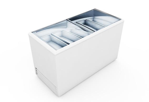 Säubern sie die eiscremegefriermaschine, die auf weißem hintergrund lokalisiert wird. 3d-rendering
