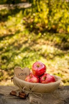 Saftige reife äpfel in einem korb auf einem natürlichen natürlichen hintergrund. rote bio-äpfel. ernte.