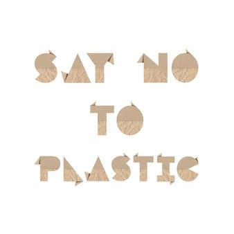 Sag nein zu plastik mit braunem origami-papier