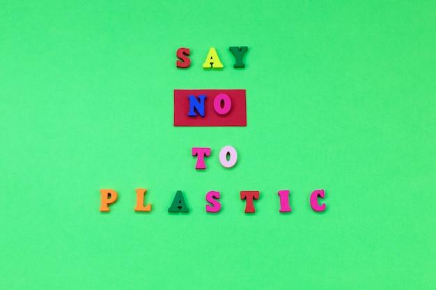 Sag nein zu plastik. umweltverschmutzung konzept