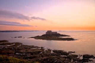 Saint malo twilight landschaft hdr rocks