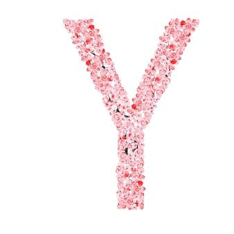 Sakura-blumen-alphabet. buchstabe y