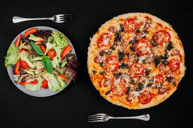 Salat gegen pizza