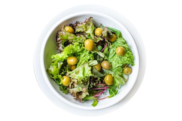 Salat oliven blätter grüne blütenblätter salat mischen frische keto oder paläo diät
