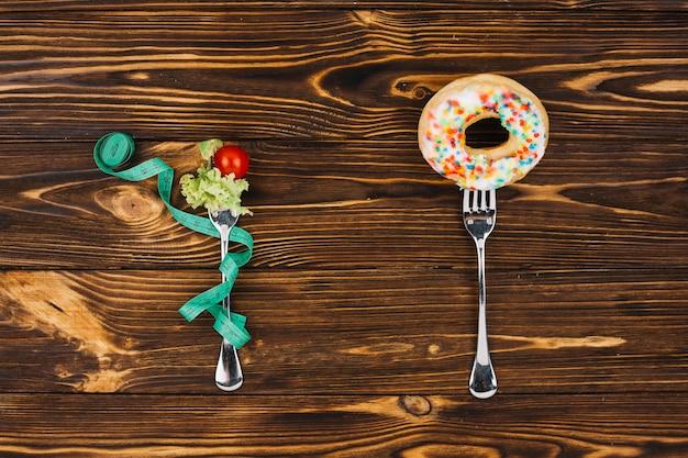 Salat und donut