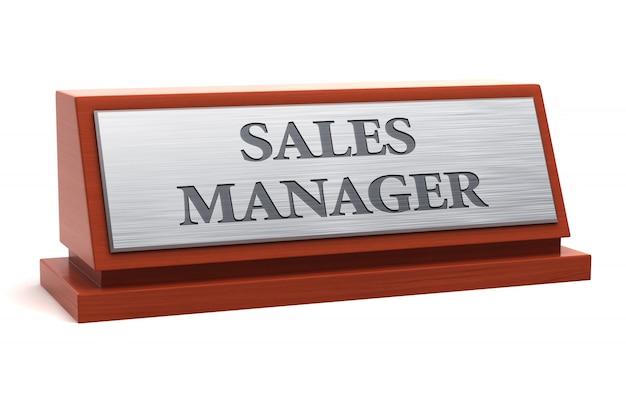 Sales manager-berufsbezeichnung auf dem typenschild