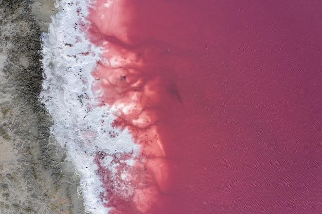 Salzbedecktes ufer des pink lake