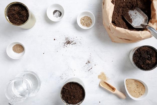 Samen für den hausgarten pflanzen. wiederverwendung von zinn zum anbau von pflanzen. kein abfall, recyceln