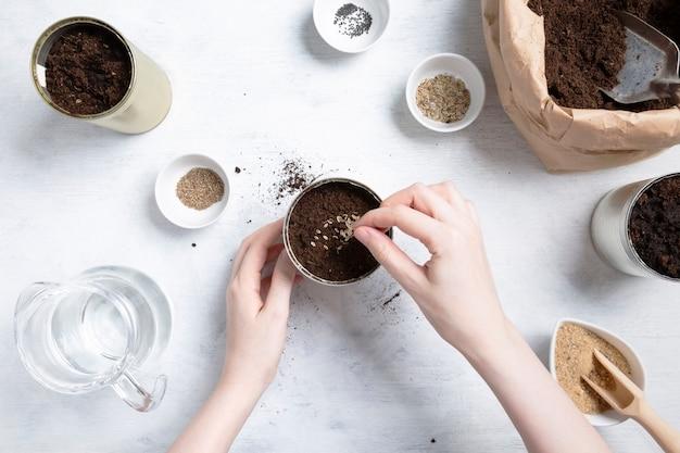 Samen für den hausgarten pflanzen. wiederverwendung von zinn zum anbau von pflanzen. null abfall, recycling, upcycling. draufsicht