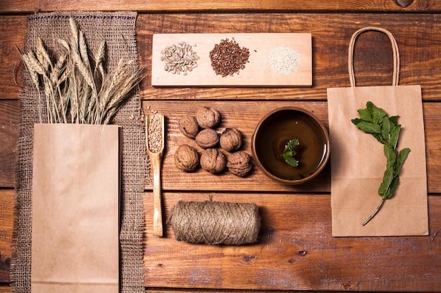 Sammlung gesundes superfood, draufsicht