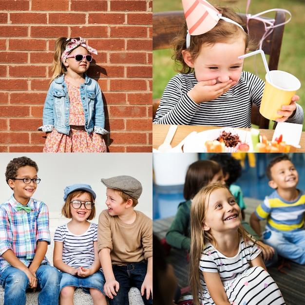 Sammlung verschiedener fröhlicher kinder