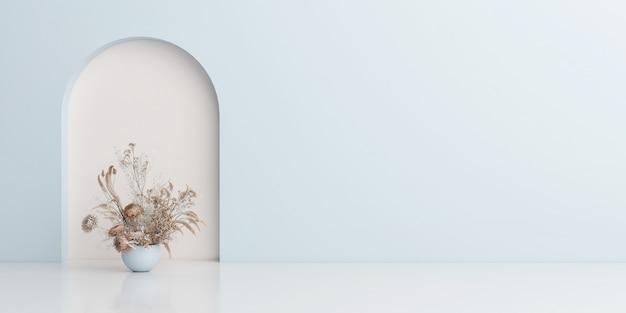 Sammlung von blumendekoration in verschiedenen töpfen topfpflanzen auf dem weißen boden vor der blauen hintergrundwand