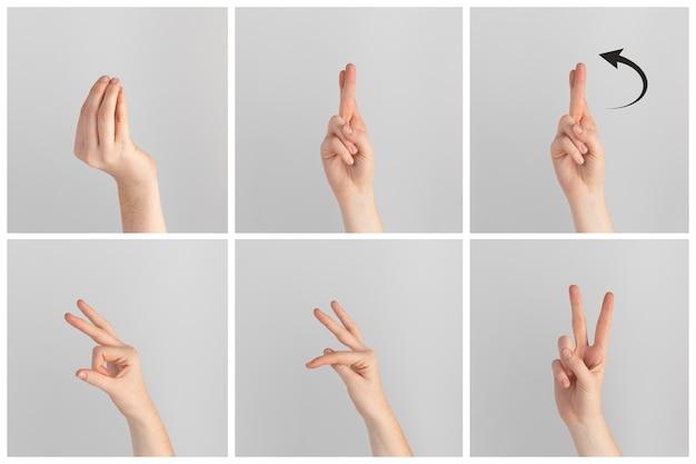 Sammlung von gebärdensprache handgesten