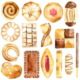 Sammlung von keksen, shortbread und crackern.
