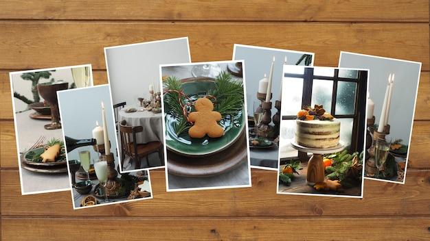 Sammlung von weihnachtsfotos in grau-grünen tönen mit tischdekoration auf einem hölzernen braunen hintergrund. platz kopieren