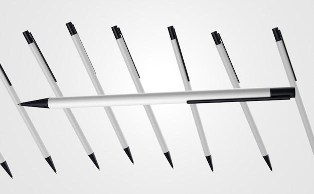 Sammlung von weißen und schwarzen stiften 3d