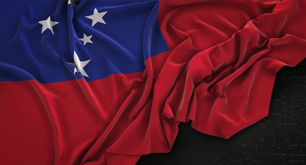 Samoa-flagge geknickt auf dunklem hintergrund 3d render