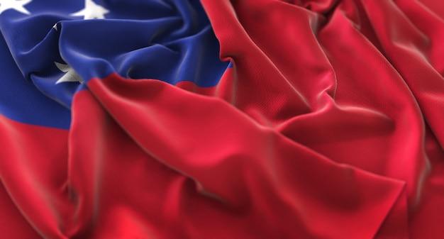 Samoa-flagge gekräuselt schön winken makro nahaufnahmen schuss