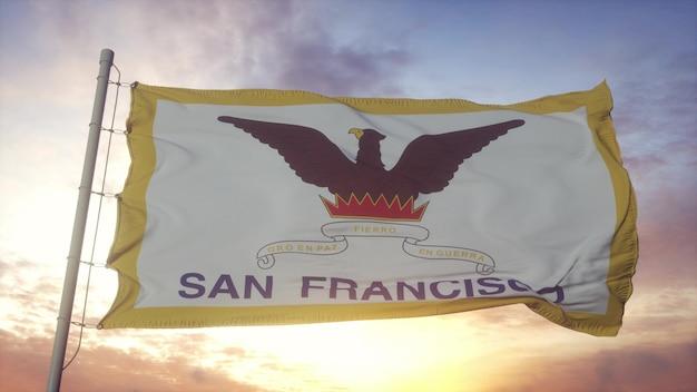 San francisco-flagge, kalifornien, im wind-, himmel- und sonnenhintergrund wellenartig. 3d-rendering