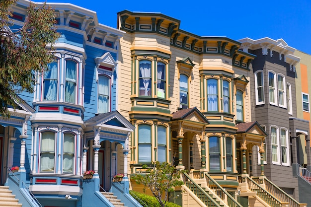 San francisco viktorianische häuser in pacific heights kalifornien