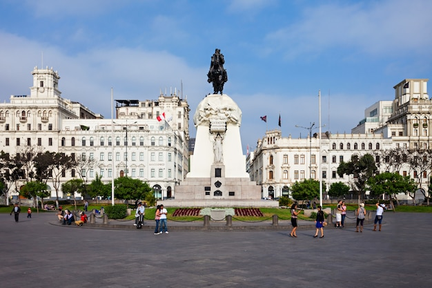 San martin plaza in der stadt lima in peru