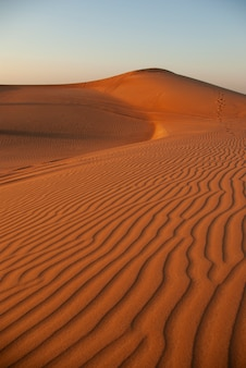Sand in der wüste gegen den himmel. dünen.