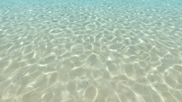 Sandboden, blau und unterwasseroberfläche