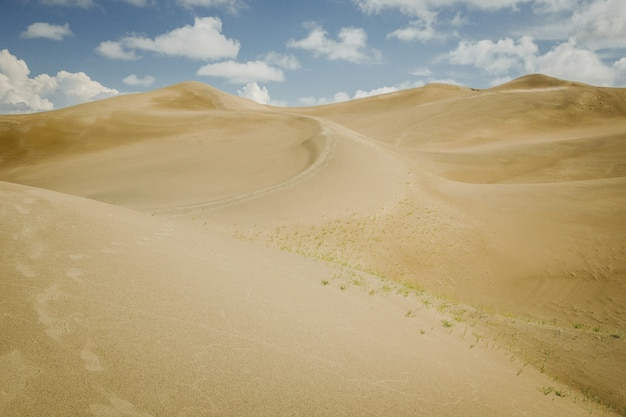 Sanddünen in der wüste mit himmel mit wolken. sommerheiße landschaft