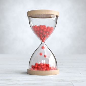 Sanduhr mit covid-19, coronavirus-ausbruchszeit-countdown-konzept. 3d-illustration