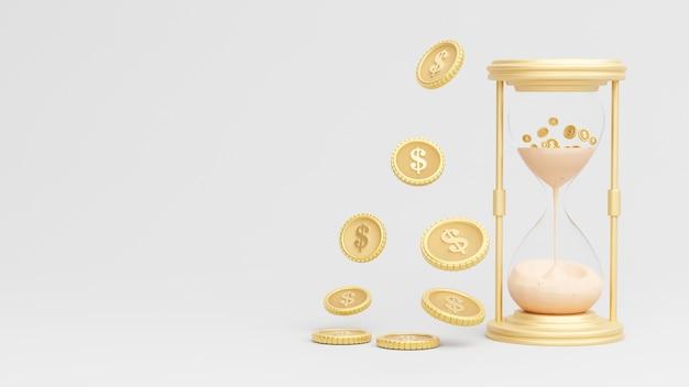 Sanduhr mit goldmünzen auf geschäftskonzept im 3d-rendering