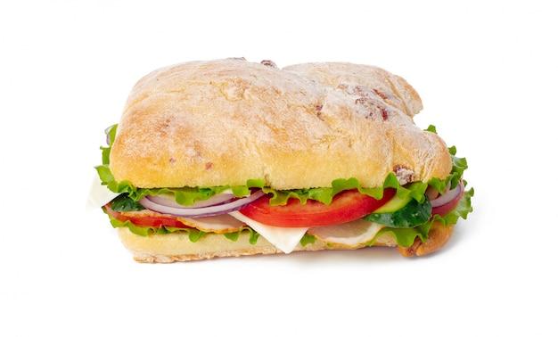 Sandwich auf weißem hintergrund