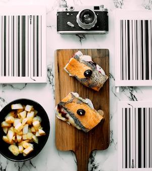 Sandwiches mit schinken und kartoffeln