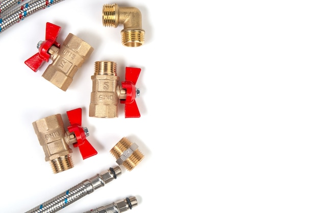 Sanitärkugelhähne, flexibler wasserschlauch und armaturen. speicherplatz kopieren