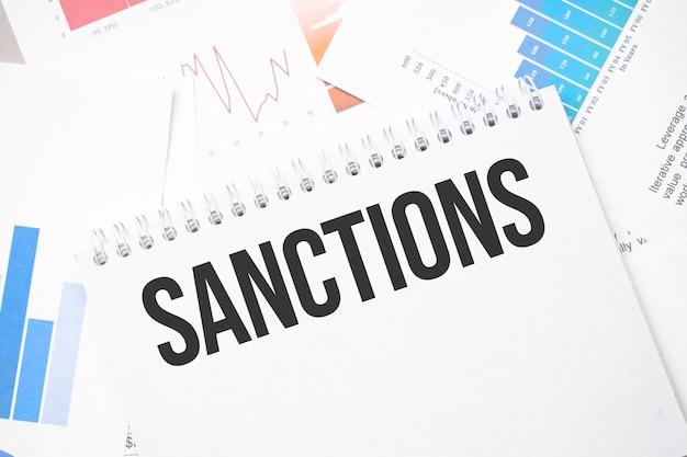 Sanktionen text auf papier auf der kartenoberfläche mit stift