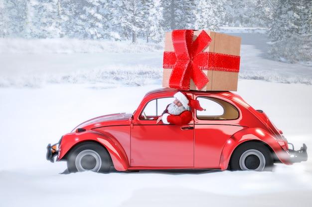Santa claus im auto, das geschenke holt