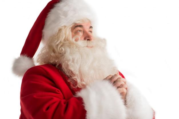 Santa claus porträt zu beten