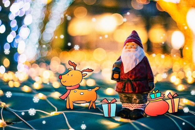 Santa claus und elk: kreative fotografieillustration gemischt