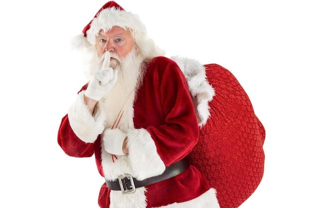 Santa fragt nach ruhe mit tasche