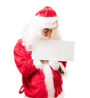 Santa mit einem schild