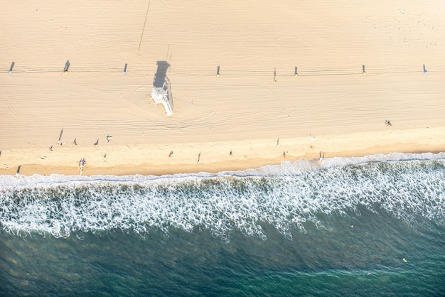 Santa monica strand, blick vom hubschrauber