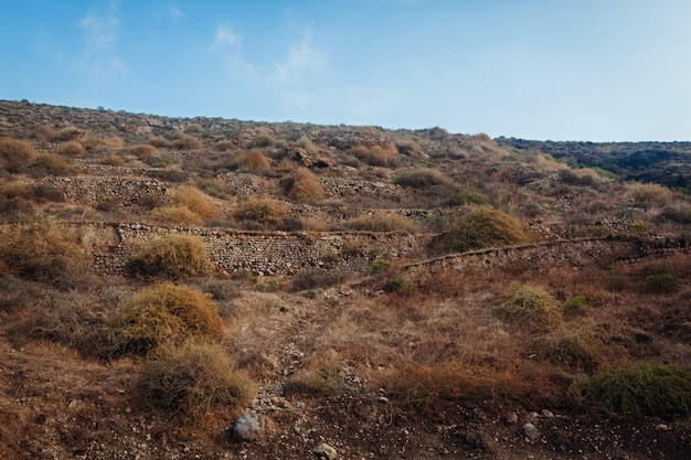 Santorini-inselherbsthügel. natürliche landschaft des vulkanbodens. reihen von steinen.