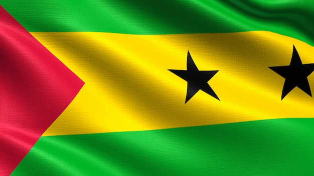 Sao tome and principe flagge, mit wehenden stoff textur