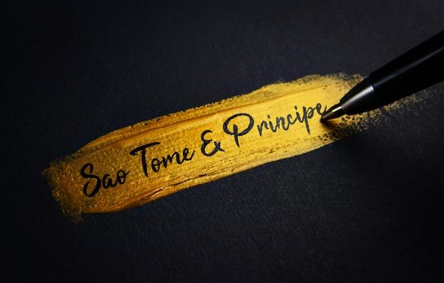 Sao tome und principe handschrift text auf golden pinselstrich